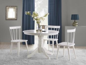 Zestaw mebli w stylu retro z litego drewna kauczukowego w kolorze białym o błyszczącej powierzchni