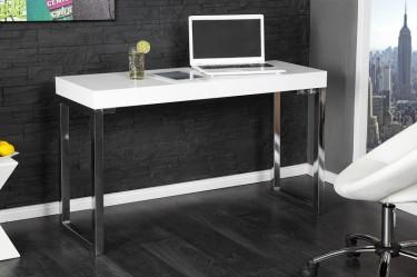 Białe lakierowane biurko na płozach z pogrubianym blatem w domowym kąciku do pracy