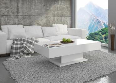 Nierozkładana biała ława pokojowa w wysokim połysku na szarym dywanie w nowoczesnym salonie