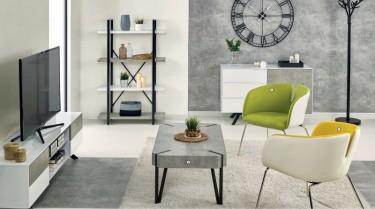 Zestaw mebli salonowych w kolorze białym z dodatkiem imitacji betonu na czarnych stalowych nóżkach