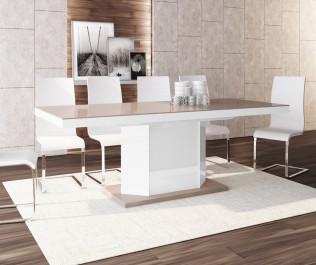 6-osobowy zestaw stołowy w jadalni z kremowym dywanem na ciemnej, drewnianej podłodze
