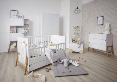 Zestaw dziecięcych mebli w stylu skandynawskim z wielofunkcyjnym łóżeczkiem i dwudrzwiową szafą na ubrania
