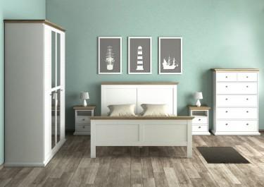 Komoda z szufladami oraz szafki nocne z blatem w kolorze dąb sonoma