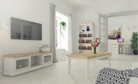 Tvilum - meble mieszkaniowe w kolorze biały - dąb sonoma Paris