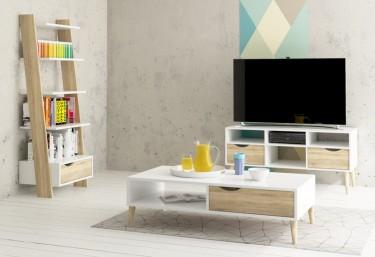 Skandynawskie meble do salonu w kolorze białym z dodatkiem drewnianego dekoru