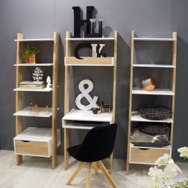 Zestaw mebli do biura w stylu skandynawskim z regałami i wbudowanym biurkiem