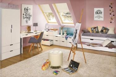 Białe biurko młodzieżowe z szufladami i designerska pufa z ekoskóry