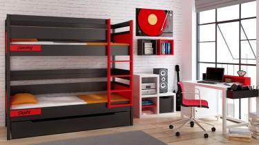 Drewniane meble do pokoju młodzieżowego z piętrowym łóżkiem oraz biurkiem z kontenerkiem