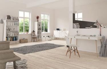 Białe regały i biurko na drewnianych nogach w stylu skandynawskim
