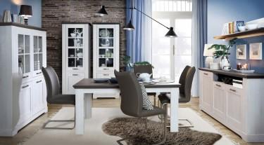 Zestaw białych mebli do jadalni z rozkładanym stołem w stylu prowansalskim