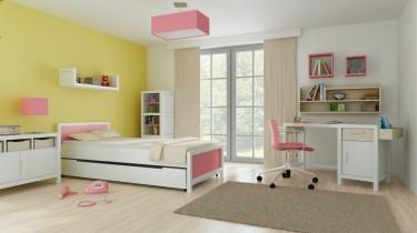 Łóżko z miejscem do przechowywania pościeli oraz biurko z kontenerkiem i wiszące półki