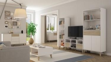 Kolekcja skandynawskich mebli do salonu na wysokich nóżkach w połączeniu bieli i dębu sonoma