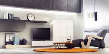Luksusowy salon z minimalistycznymi meblami z lakierowanymi frontami