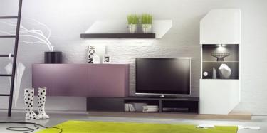 Zestaw lakierowanych mebli w eleganckim salonie z białymi ścianami i jasną podłogą