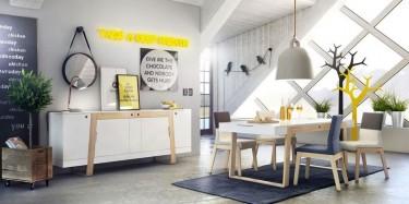 Meble w stylu skandynawskim w jadalni z dużym oknem i lampą nad stołem