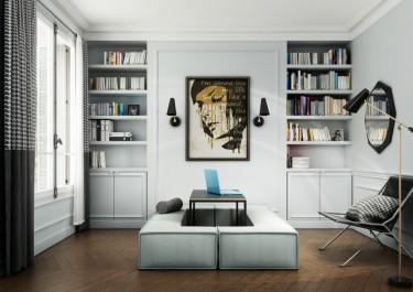 Sofa tapicerowana błękitną tkaniną i czarny stolik z prostokątnym blatem na metalowej podstawie