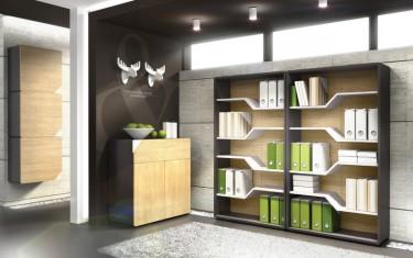 Regały z ozdobnymi półkami oraz komoda i wiszące szafki w eleganckim wnętrzu biurowym