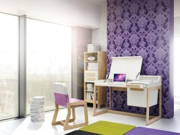 Regał z szufladami oraz biurko z kontenerkiem uzupełnione tapicerowanym krzesłem na drewnianej podstawie