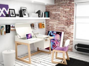 Białe biurko z kontenerkiem oraz tapicerowane różowe krzesło na drewnianych płozach