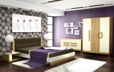 Łóżko ze stolikami nocnymi oraz trzydrzwiowa szafa i komoda z czterema pojemnymi szufladami