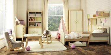 Komplet kremowych mebli do pokoju dziecięcego z rozsuwanym łóżkiem i szafą ubraniową
