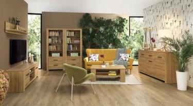 Zestaw mebli salonowych ze stolikiem kawowym i szafką RTV w dekorze drewnianym dąb postarzały