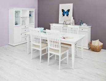 Komplet białych mebli do jadalni z kredensem oraz rozkładanym stołem i drewnianymi krzesłami