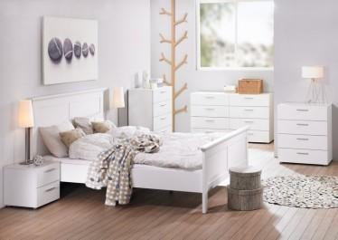 Białe komody pokojowe i szafki nocne z szufladami i szarymi uchwytami