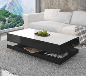 Stolik do salonu w wysokim połysku z białym blatem i praktyczną półką na podręczne drobiazgi