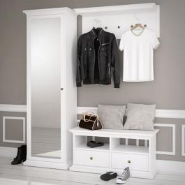 Jednodrzwiowa szafa z lustrem oraz biały wieszak ścienny i szafka z szufladami