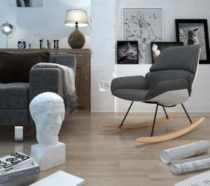 Bujany fotel wypoczynkowy tapicerowany szarą tkaniną materiałową