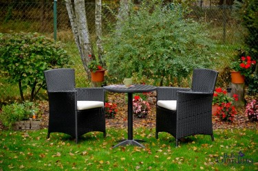 Dwuosobowy zestaw mebli z fotelami i okrągłym stolikiem w przydomowym ogrodzie z czerwonymi kwiatami