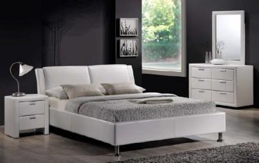 Biała szafka nocna tapicerowana ekoskórą z dwoma szufladami