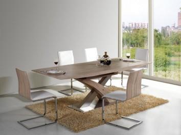 Krzesła na płozach tapicerowane ekoskórą i rozkładany stół w dekorze dąb sonoma