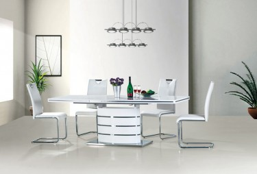 Designerski stół na jednej nodze z rozkładanym blatem i białe tapicerowane krzesła na płozach