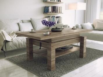 Drewnopodobny ławostół z półką o regulowanej wysokości i z rozkładanym blatem na tle szarego dywanu