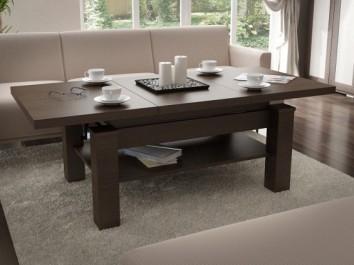 Rozkładany ławostół z półką i regulowaną wysokością w imitacji naturalnej struktury drewna