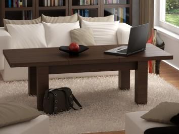Rozkładana ława w dekorze wenge amari jako uzupełnienie komfortowej sofy z poduszkami w salonie