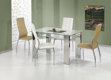 Pikowane krzesła bez podłokietników ze skóry ekologicznej w zestawie ze szklanym stołem