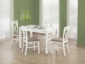 Klasyczny zestaw mebli z nierozkładanym stołem i drewnianymi krzesłami z tapicerowanym siedziskiem