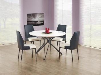 4 - osobowy zestaw mebli z okrągłym stołem i krzesłami tapicerowanymi skórą ekologiczną
