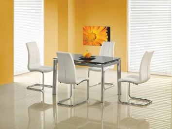 Rozkładany stół ze szklanym blatem w zestawie z pikowanymi krzesłami ze skóry ekologicznej