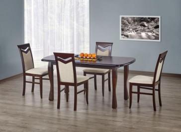 Stół na drewnianych nogach rozkładany do 240 cm w towarzystwie tapicerowanych krzeseł