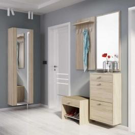 Zestaw mebli do przedpokoju z lustrem w kolorze dąb sonoma na tle szarych ścian i jasnej podłogi