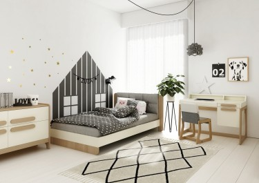 Łóżko z tapicerowanym wezgłowiem oraz biurko i fotelik na płozach z litego drewna bukowego