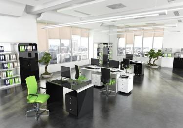 Aranżacja w nowoczesnym biurowcu z białymi i czarnymi meblami w wysokim połysku
