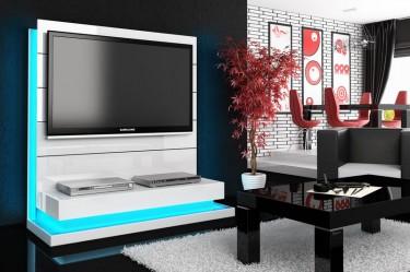 Biały panel RTV z oświetleniem LED oraz ława w wysokim połysku w nowoczesnym salonie z jadalnią
