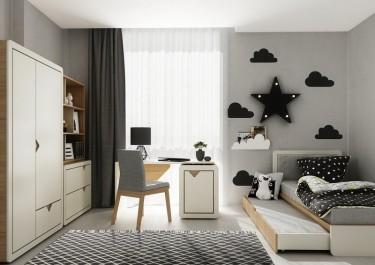 Biurko z obracanym kontenerkiem oraz dwudrzwiowa szafa i łóżko z miejscem spania dla dwóch osób