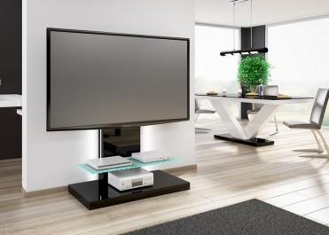 Czarny stolik RTV z uchwytem do zawieszenia TV i szklaną półką z oświetleniem LED w salonie połączonym z jadalnią