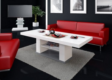 Luksusowy salon z czerwonym wypoczynkiem i białą ławą w wysokim połysku z półką na drobiazgi